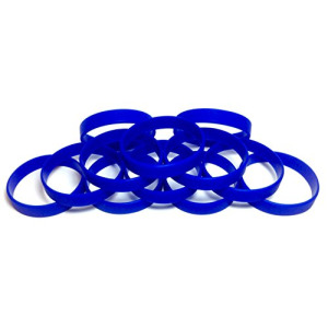 "1 Dozen Multi-Pack BLUE Wristbands Bracelets Silicone Rubber - Select from a Variety of Colors (Blue, Adult (8"" 202mm))"