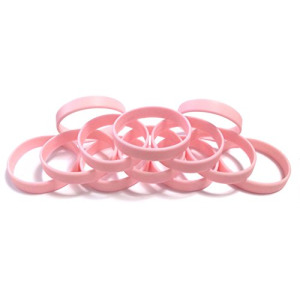 "1 Dozen Multi-Pack Baby Pink Wristbands Silicone Rubber Bracelets (Baby Pink, Youth (7"" 180mm))"