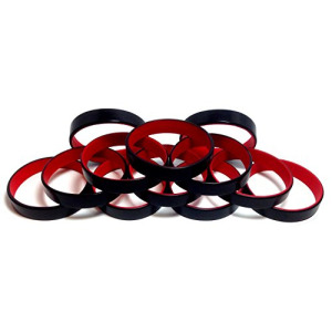 "1 Dozen Multi-Pack Black ColorSpray on Red Wristbands Bracelets Silicone Rubber - Select from a Variety of Colors (Black on Red, Adult (8"" 202mm))"