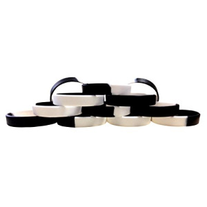 "1 Dozen Multi-Pack Black & White Wristbands Bracelets Silicone Rubber - Select from a Variety of Colors (Black & White Segmented, Adult (8"" 202mm))"