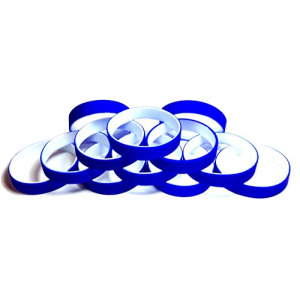 "1 Dozen Multi-Pack Blue ColorSpray on White Wristbands Bracelets Silicone Rubber - Select from a Variety of Colors (Blue on White, Adult (8"" 202mm))"
