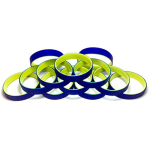 "1 Dozen Multi-Pack Blue ColorSpray on Yellow Wristbands Bracelets Silicone Rubber - Select from a Variety of Colors (Blue on Yellow, Adult (8"" 202mm))"