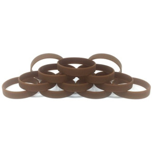 "1 Dozen Multi-Pack Brown Wristbands Bracelets Silicone Rubber - Select from a Variety of Colors (Brown, Youth (7"" 180mm))"