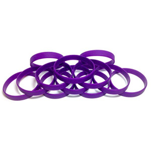 "1 Dozen Multi-Pack Dark Purple Wristbands Bracelets Silicone Rubber - Select from a Variety of Colors (Dark Purple, Youth (7"" 180mm))"