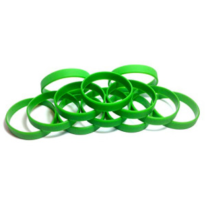 "1 Dozen Multi-Pack GREEN Wristbands Bracelets Silicone Rubber - Select from a Variety of Colors (Green, Youth (7"" 180mm))"
