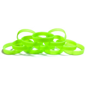 "1 Dozen Multi-Pack Glow in the Dark Wristbands Silicone Rubber Bracelets (Light Green Glow-in-the-Dark, Adult (8"" 202mm))"