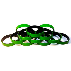 "1 Dozen Multi-Pack Green ColorSpray on Black Wristbands Bracelets Silicone Rubber - Select from a Variety of Colors (Green on Black, Adult (8"" 202mm))"