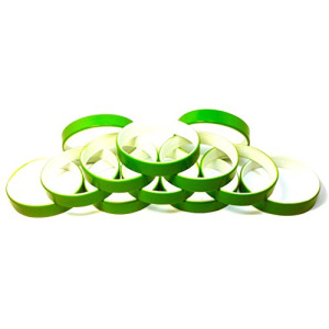 "1 Dozen Multi-Pack Green ColorSpray on White Wristbands Bracelets Silicone Rubber - Select from a Variety of Colors (Green on White, Youth (7"" 180mm))"