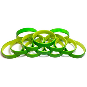 "1 Dozen Multi-Pack Green ColorSpray on Yellow Wristbands Bracelets Silicone Rubber - Select from a Variety of Colors (Green on Yellow, Youth (7"" 180mm"