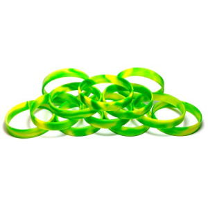 "1 Dozen Multi-Pack Green & Yellow Swirl Wristbands Bracelets Silicone Rubber - Select from a Variety of Colors (Green & Yellow Swirl, Adult (8"" 202mm)"