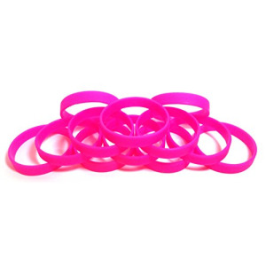 "1 Dozen Multi-Pack Hot Pink Wristbands Bracelets Silicone Rubber - Select from a Variety of Colors (Hot Pink, Adult (8"" 202mm))"