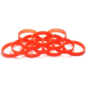 "1 Dozen Multi-Pack ORANGE Wristbands Bracelets Silicone Rubber - Select from a Variety of Colors (Orange, Adult (8"" 202mm))"