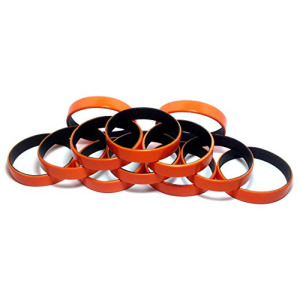 "1 Dozen Multi-Pack Orange ColorSpray on Black Wristbands Bracelets Silicone Rubber - Select from a Variety of Colors (Orange on Black, Adult (8"" 202mm"