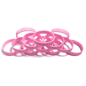 "1 Dozen Multi-Pack PINK Wristbands Bracelets Silicone Rubber - Select from a Variety of Colors (Pink, Adult (8"" 202mm))"