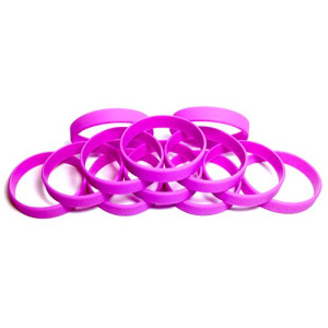 "1 Dozen Multi-Pack PURPLE Wristbands Bracelets Silicone Rubber - Select from a Variety of Colors (Purple, Youth (7"" 180mm))"