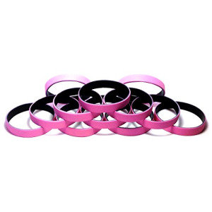 "1 Dozen Multi-Pack Pink ColorSpray on Black Wristbands Bracelets Silicone Rubber - Select from a Variety of Colors (Pink on Black, Youth (7"" 180mm))"