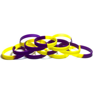 1 Dozen Multi-Pack Purple & Yellow / Gold Segmented Wristbands Bracelets Silicone Rubber - Select from a Variety of Colors (Purple & Yellow / Gold, Ad