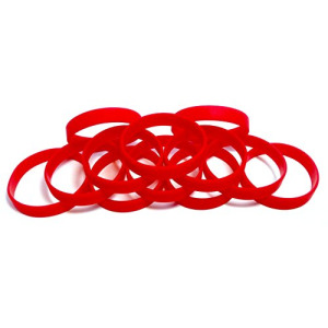 "1 Dozen Multi-Pack RED Wristbands Bracelets Silicone Rubber - Select from a Variety of Colors (Red, Adult (8"" 202mm))"