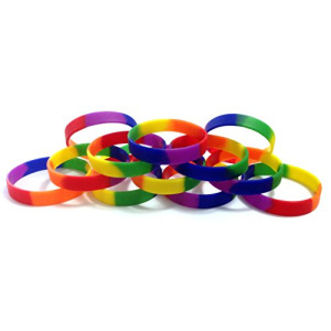 "1 Dozen Multi-Pack Rainbow Pride Wristbands Bracelets Silicone Rubber - Select from a Variety of Colors (Rainbow, Adult (8"" 202mm))"