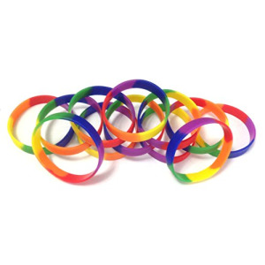 "1 Dozen Multi-Pack Rainbow Pride Wristbands Silicone Rubber Bracelets (Adult 8"" 202mm)"