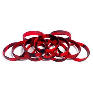 "1 Dozen Multi-Pack Red & Black Swirl Wristbands Bracelets Silicone Rubber - Select from a Variety of Colors (Red & Black Swirl, Youth (7"" 180mm))"