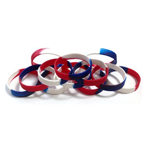1 Dozen Multi-Pack Red White & Blue Patriotic Wristbands Bracelets Silicone Rubber - Select from a Variety of Colors (Red White & Blue Segmented, Adul