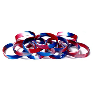 "1 Dozen Multi-Pack Red White & Blue Patriotic Wristbands Silicone Rubber Bracelets (Red White & Blue Swirl, Adult (8"" 202mm))"