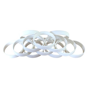 "1 Dozen Multi-Pack WHITE Wristbands Bracelets Silicone Rubber - Select from a Variety of Colors (White, Adult (8"" 202mm))"