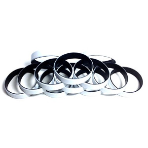 "1 Dozen Multi-Pack White ColorSpray on Black Wristbands Bracelets Silicone Rubber - Select from a Variety of Colors (White on Black, Adult (8"" 202mm))"