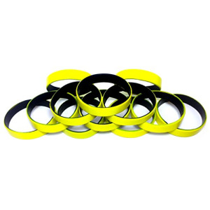 "1 Dozen Multi-Pack Yellow ColorSpray on Black Wristbands Bracelets Silicone Rubber - Select from a Variety of Colors (Yellow on Black, Adult (8"" 202mm"