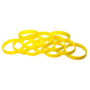 "1 Dozen Multi-Pack Yellow Wristbands Bracelets Silicone Rubber - Select from a Variety of Colors (Yellow, Adult (8"" 202mm))"