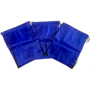 3 Pack BLUE Nylon Drawstring Backpacks Sackpack Tote Cinch Gym Bag - Select from a Variety of Colors! (Regular, Blue)