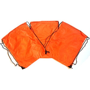 3 Pack ORANGE Nylon Drawstring Backpacks Sackpack Tote Cinch Gym Bag - Select from a Variety of Colors! (X-Large, Orange)