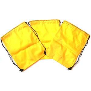 3 Pack YELLOW Nylon Drawstring Backpacks Sackpack Tote Cinch Gym Bag - Select from a Variety of Colors! (Regular, Yellow)