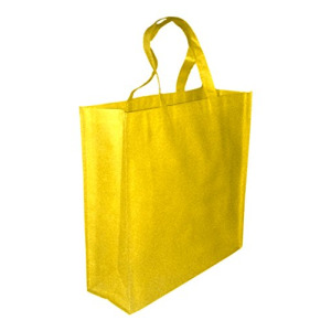 5 Pack YELLOW Promo Tote Bags Reusable Grocery and Travel Totes or Party Favor Gift Bags (Yellow)