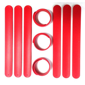9 RED Silicone Slap Bracelets - Soft & Safe for Kids Boys & Girls Party Favors - Durable by TheAwristocrat