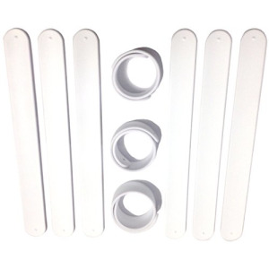 9 WHITE Silicone Slap Bracelets - Soft & Safe for Kids Boys & Girls Party Favors - Durable High Quality