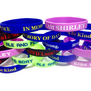 TheAwristocrat_USA_Company_100 Customized Silicone Wristbands Debossed Color-Filled Personalized Rubber Bracelets - Select from a Wide Variety of Colo
