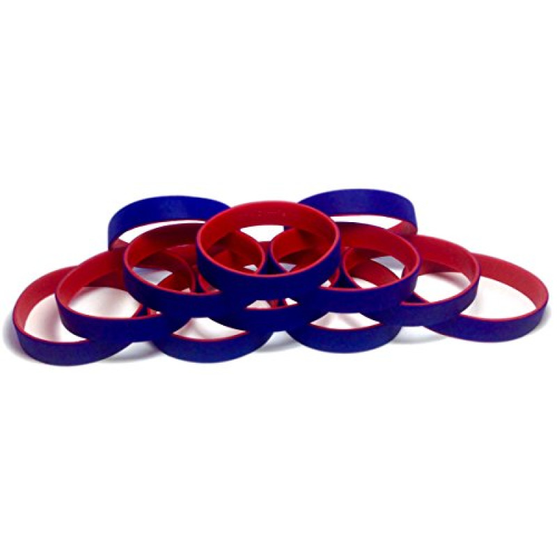 "1 Dozen Multi-Pack Blue ColorSpray on Red Wristbands Bracelets Silicone Rubber - Select from a Variety of Colors (Blue on Red, Adult (8"" 202mm))"